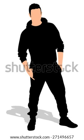 handsome young man with hands in pockets, vector - stock vector