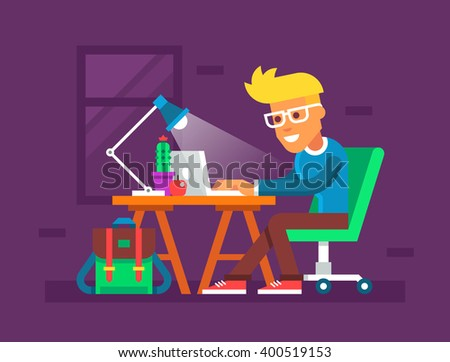 Handsome young man working on his laptop. Creative colorful illustration in flat design. - stock vector