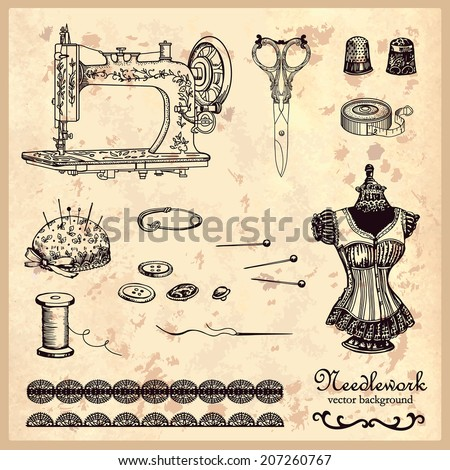 Handstitched vintage set. Hand drawing. Illustration for greeting cards, invitations, and other printing and web projects. - stock vector