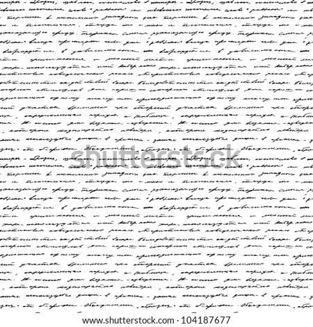 Handwriting. Seamless vector background. Black and white. - stock vector