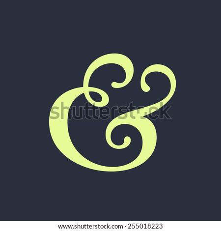 Handwritten ampersand symbol for wedding invitation. Vector illustration - stock vector