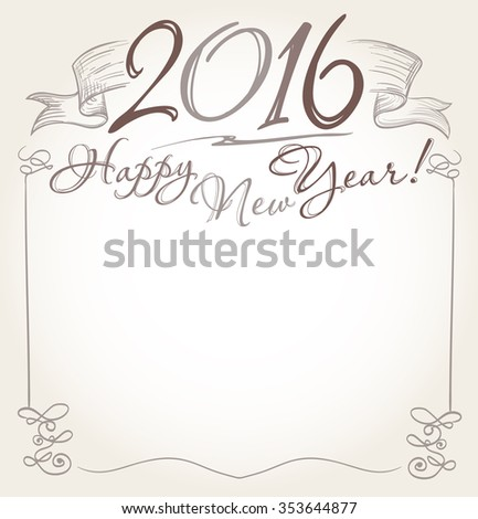 handwritten 2016 and Happy New Year words greeting. vector - stock vector