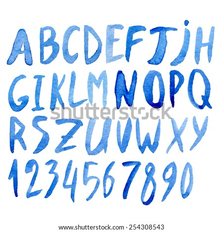 Handwritten blue watercolor alphabet with numbers and symbols. Vector - stock vector