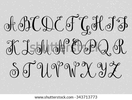 Handwritten brush flourish font. Capital letters. Modern calligraphy alphabet. Isolated letter elements. Wedding, menu, save the date postcard poster decorative graphic design. - stock vector
