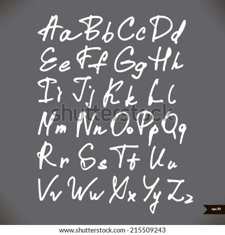 Handwritten calligraphic alphabet - stock vector