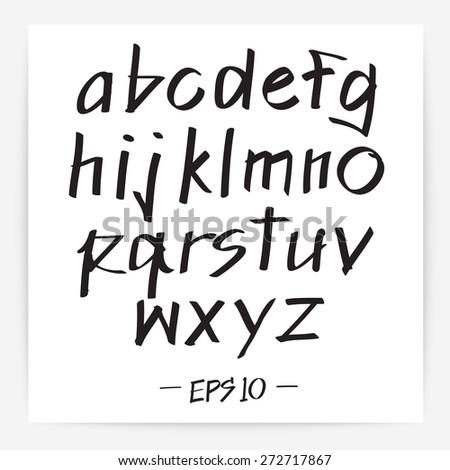 Handwritten calligraphic alphabet : Vector Illustration - stock vector