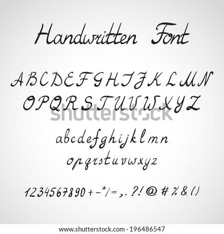 Handwritten Font, ink sketch style - stock vector