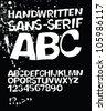 Handwritten grunge sans-serif alphabet. Vector, EPS 8 - stock vector