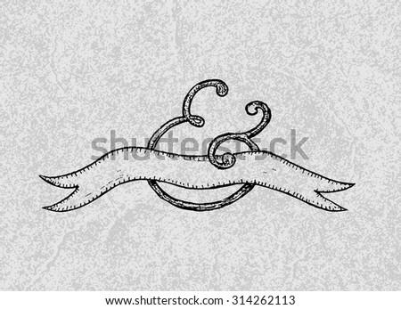 Handwritten label for wedding invitation. Vector illustration - stock vector