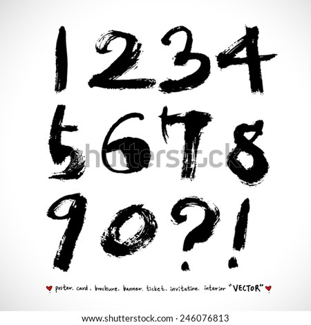Handwritten numbers / vector - calligraphy - stock vector