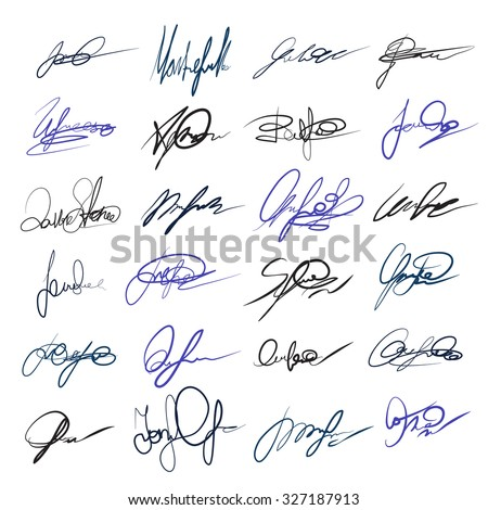 Handwritten personal signatures vector set. Letter and autograph, contract sign, scribble and ink illustration - stock vector
