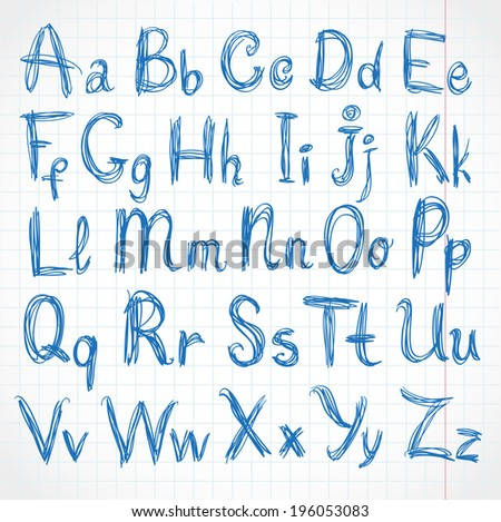 Handwritten script strokes of rough pencil. On of exercise book in cell - stock vector