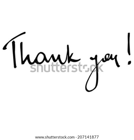 Handwritten thank you message in watercolor ink vector vectorized - stock vector