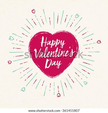 Handwritten, vintage flavored Valentine's Card - Happy Valentine's Day - EPS10 - stock vector