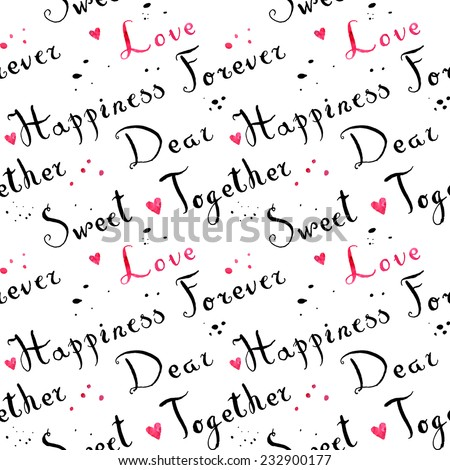 Handwritten vintage ink cursive font pattern with splashes and pink watercolor hearts - stock vector