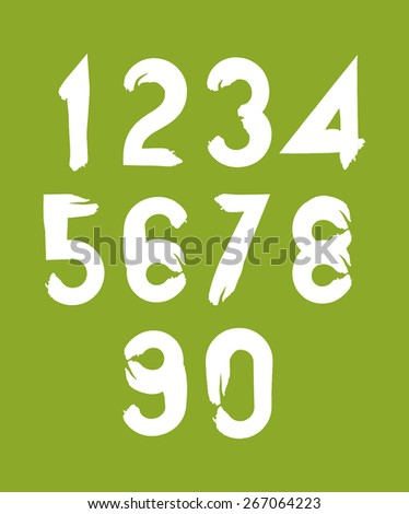 Handwritten white vector numbers on green backdrop, stylish numbers set drawn with ink brush. - stock vector