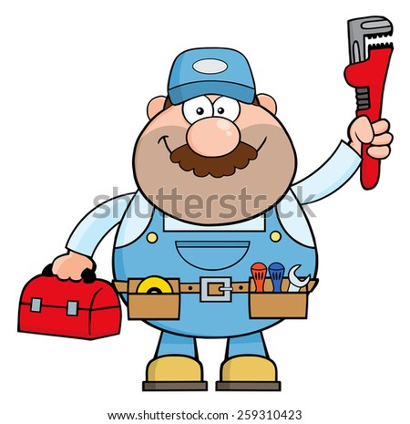 Handyman Cartoon Character With Wrench And Tool Box. Vector Illustration Isolated On White - stock vector