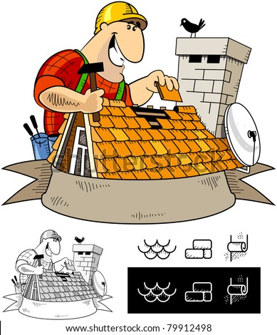 Handyman roofer (character #7). The series of the handyman cartoon characters with some icons. - stock vector