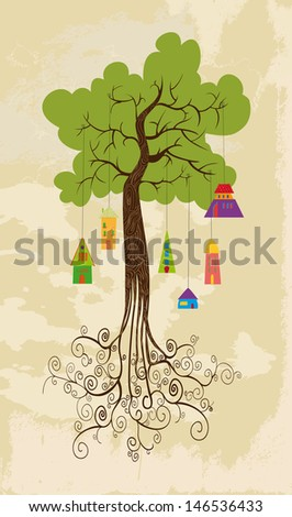 Hangin houses tree design set. This illustration is layered for easy manipulation and custom coloring - stock vector