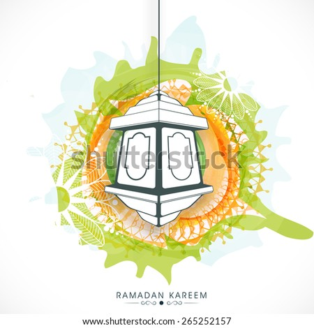 Hanging arabic lantern on beautiful floral decorated background for Islamic holy month of prayers, Ramadan Kareem.  - stock vector