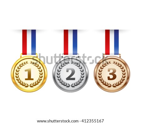 Hanging award medals set - stock vector