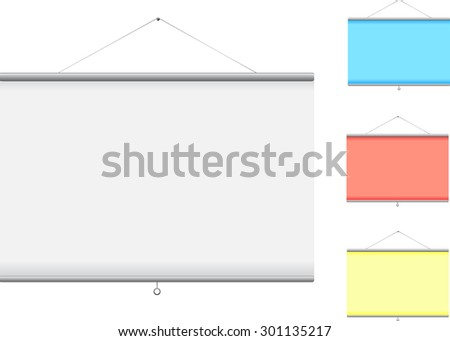 Hanging blank projection screen - stock vector