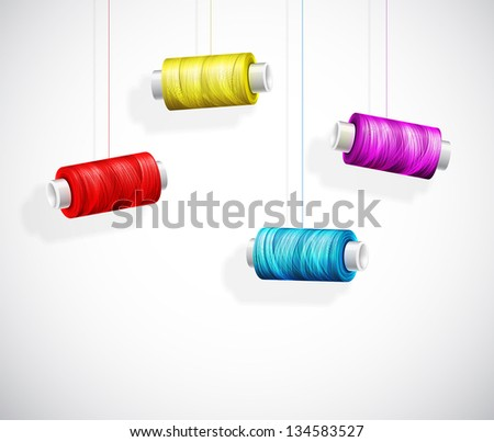 Hanging bobbins of colorful thread. Eps 10 - stock vector