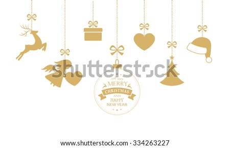 Hanging Christmas ornaments such as Christmas bauble, santa hat, reindeer, angel, heart, present and Christmas tree with a ribbon forming a versatile border isolated on white. - stock vector