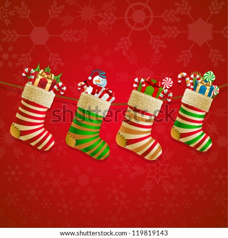 Hanging christmas socks with present. Vector illustration. - stock vector