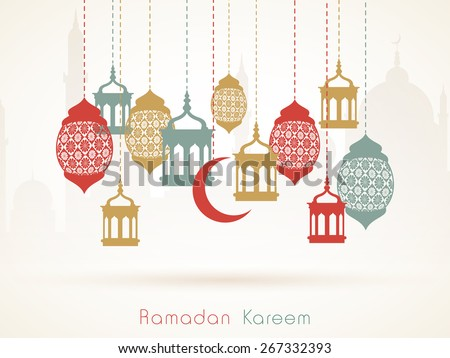 Hanging colorful arabic lamps or moon on islamic mosque silhouette background for holy month of muslim community, Ramadan Kareem celebration. - stock vector