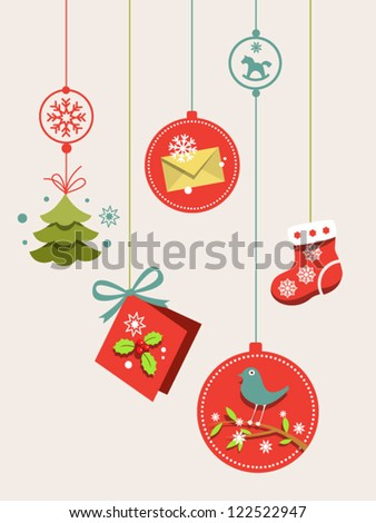 Hanging decorations for Christmas tree Balls with envelope, bird on the branch, sock, mistletoe, little christmas tree, a greeting card with bow etc - stock vector