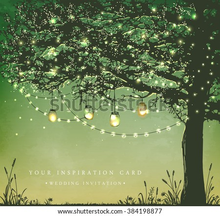 Hanging decorative holiday lights for a back yard party. Garden party invitation.  Inspiration card for wedding, date, birthday, tea party - stock vector