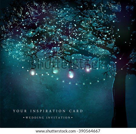 Hanging decorative holiday lights for a party. Garden party invitation.  Inspiration card for wedding, date, birthday, tea or garden party - stock vector