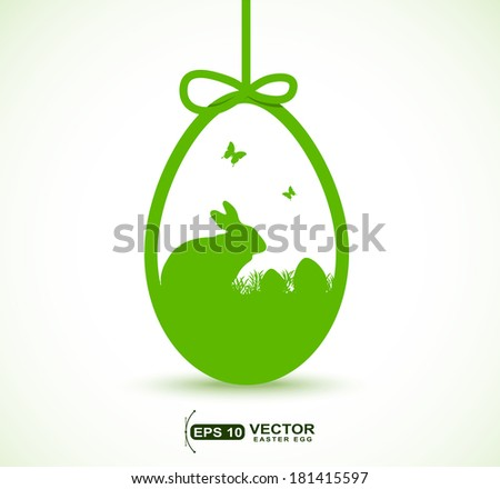 hanging Easter egg with rabbit ,eggs and butterfly shape - stock vector