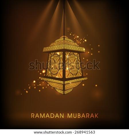 Hanging golden intricate arabic lantern on shiny brown background for Islamic holy month of prayers, Ramadan Kareem celebrations.  - stock vector