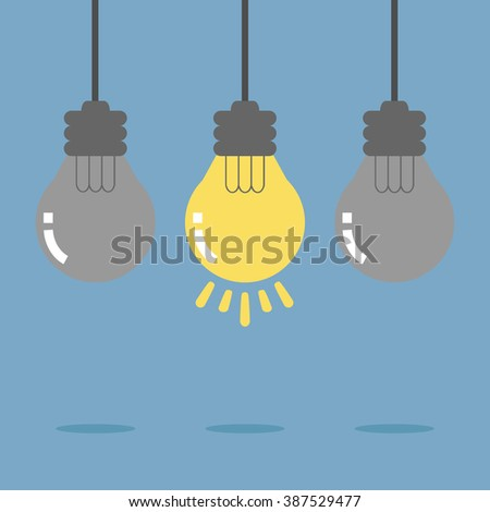 Hanging light bulb. Bright idea like light on. Flat design for business financial marketing banking advertisement office people life stock fund commercial background in concept cartoon illustration. - stock vector