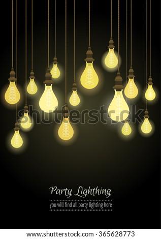 hanging light bulbs  - stock vector