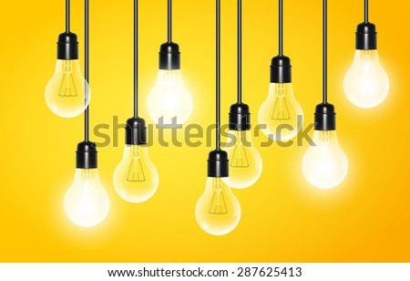 Hanging light bulbs with a few glowing on a yellow background. Vector illustration for your design. - stock vector