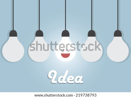 Hanging light bulbs with glowing one, Bright idea concept - stock vector