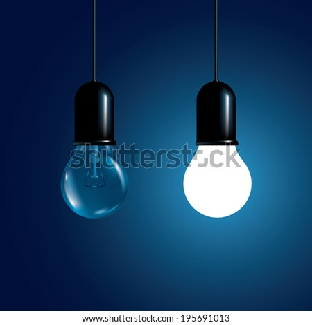 Hanging light bulbs with glowing one. Vector illustration - stock vector