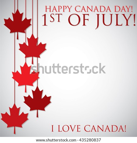 Hanging maple leaf Canada Day card in vector format. - stock vector