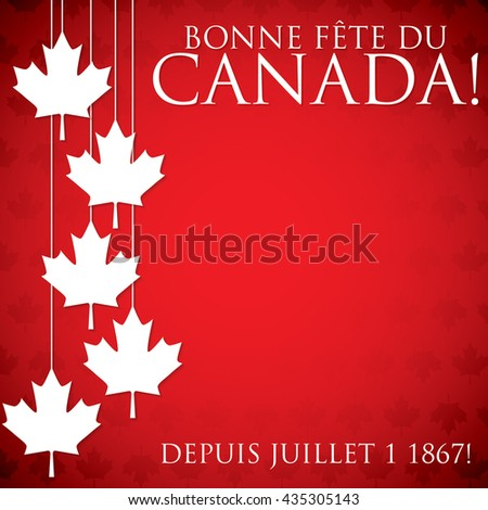 """Hanging maple leaf Canada Day card in vector format. Translation (top to bottom) """"Happy Canada Day"""" """"Since July 1 1867!"""" - stock vector"""
