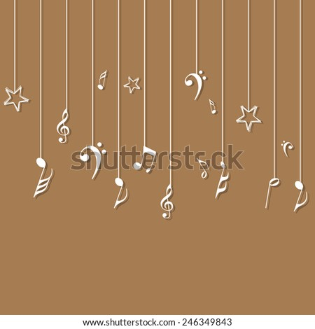Hanging musical notes on light brown background. - stock vector