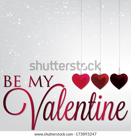 Hanging ornaments Valentine's Day card in vector format. - stock vector
