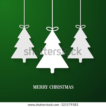 Hanging paper Christmas tree ornaments. Vector illustration. - stock vector