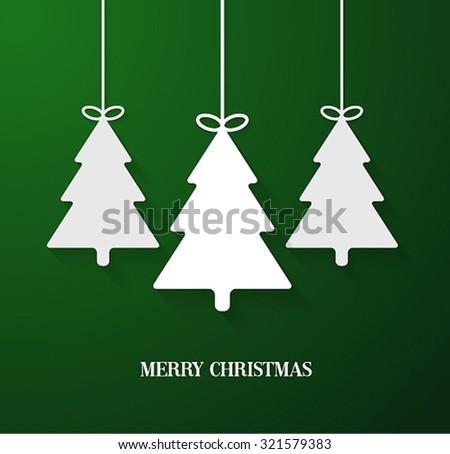 Hanging paper Christmas tree. Vector illustration. - stock vector