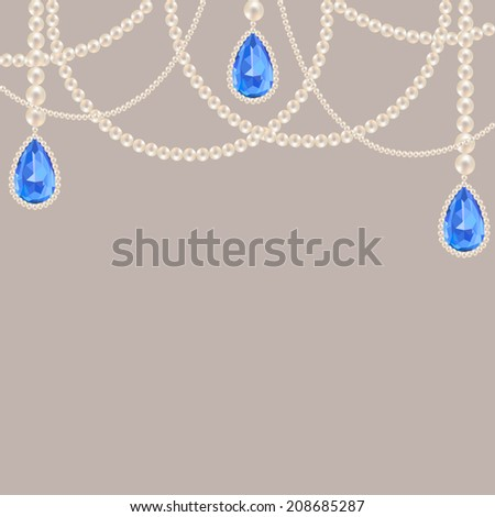 Hanging pearl necklace jewelry with sapphire pendants on gray background - stock vector