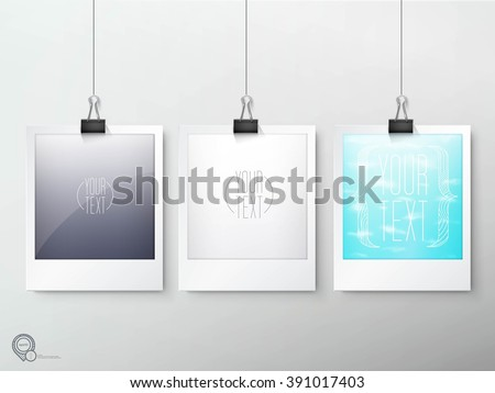 Hanging Photo Frames Composition Eps10 Vector - stock vector
