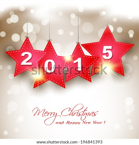 hanging  2015 red star on magical winter background greeting card - stock vector