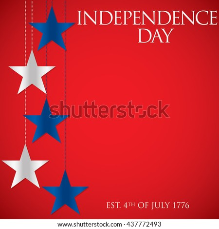 Hanging star Independence Day card in vector format. - stock vector